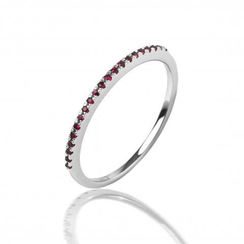Balto aukso žiedas su rubinais