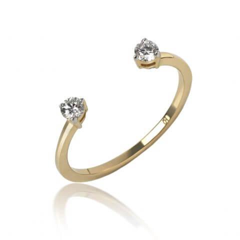 Atviras geltono aukso žiedas su deimantais