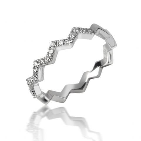 Balto aukso žiedas Zigzagas su deimantais