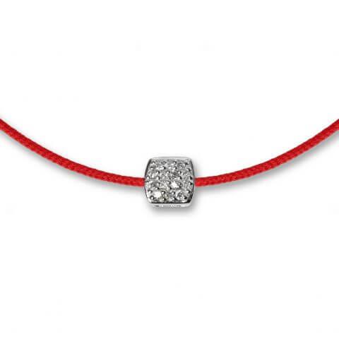 Raudona juostelė-apyrankė su deimantais