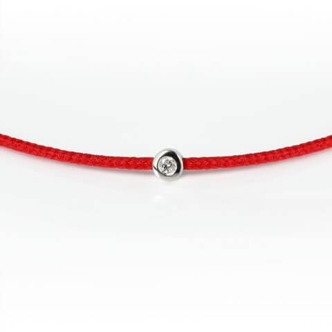 White gold diamond bracelet (red colour)