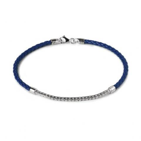 Tamsiai mėlyna odinė apyrankė su deimantais