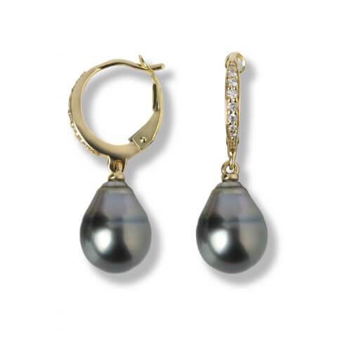 Geltono aukso auskarai su perlais ir deimantais
