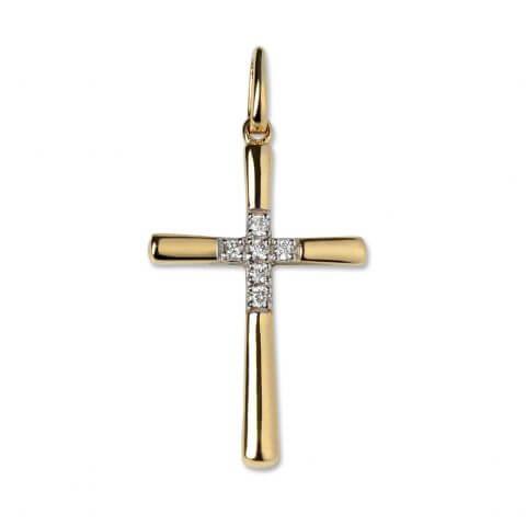 Geltono aukso pakabukas su deimantais kryželis