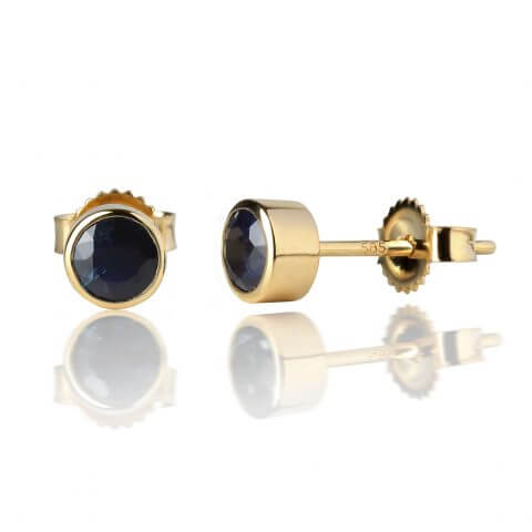 Yellow gold earrings with sapphires