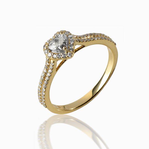 KAROLINA MESCHINO sukurtas svajonių sužadėtuvių žiedas su širdele