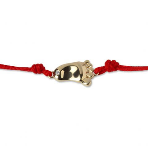 "Yellow gold diamond bracelet ""Little Foot"" (red colour)"