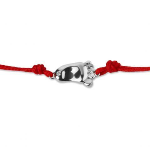 Raudona juostelė-apyrankė pėdutė su deimantu (baltas auksas)