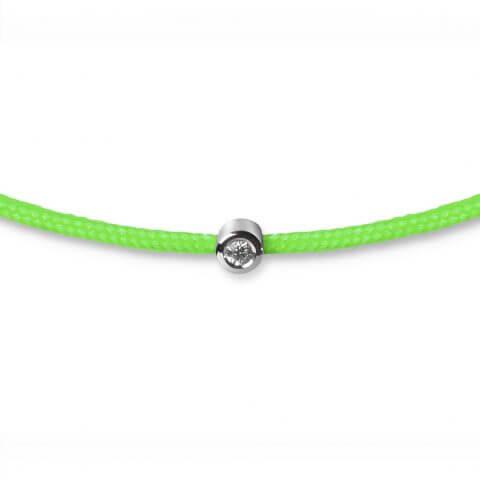 Žalia juostelė-apyrankė su deimantu (baltas auksas)