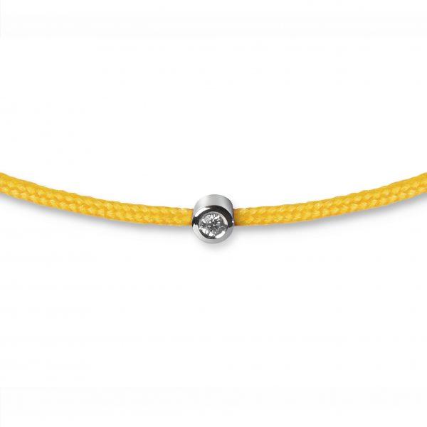 Geltona juostelė-apyrankė su deimantu (baltas auksas)