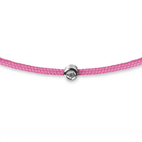 Pink bracelet with diamond (white gold)