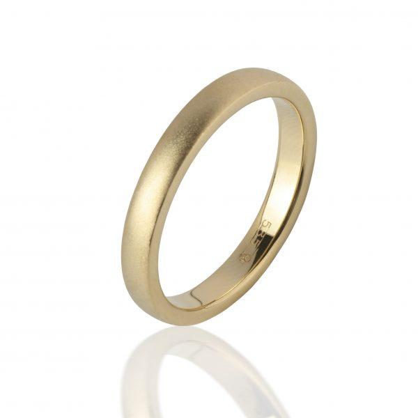 Geltono, matinio aukso žiedas (3mm pločio)