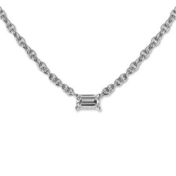 White gold Baguette diamond pendant