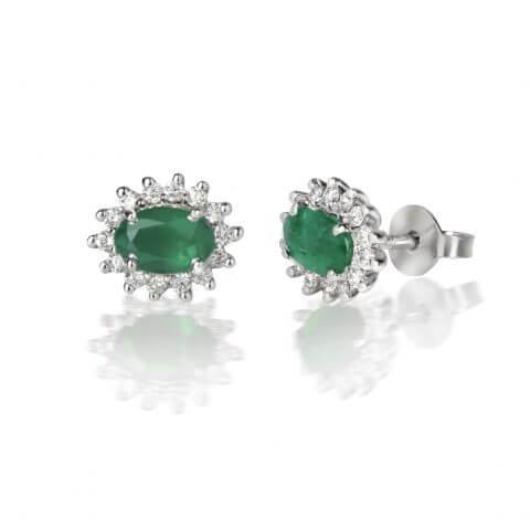 Balto aukso auskarai su smaragdais ir deimantais