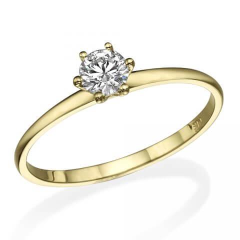 Geltono, matinio aukso žiedas su deimantu