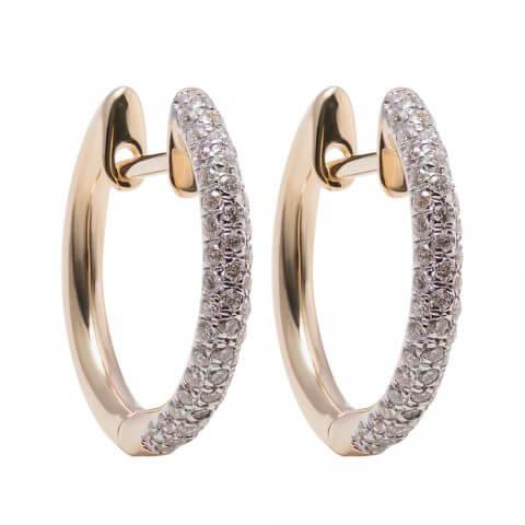 Geltono aukso auskarai rinkelės su deimantais