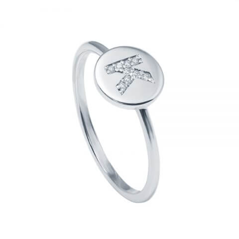 Balto aukso žiedas su deimantais raidė K