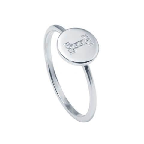 White gold diamond letter ring
