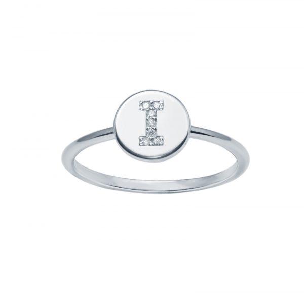 Balto aukso žiedas su deimantais raidė I