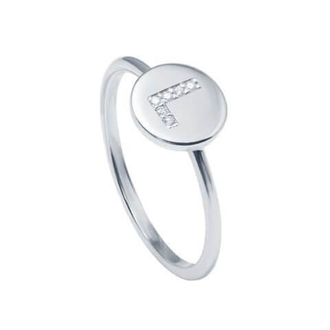Balto aukso žiedas su deimantais raidė L