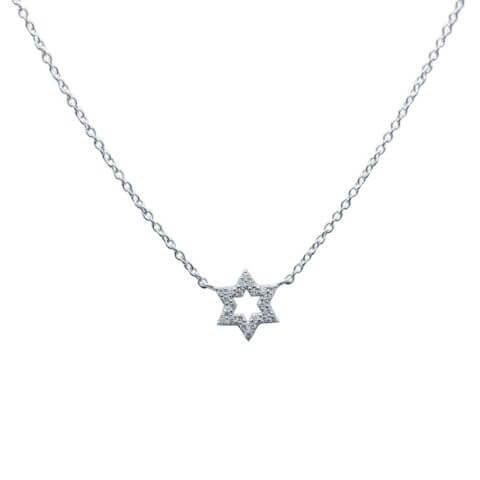 Balto aukso pakabukas su deimantais žvaigždutė