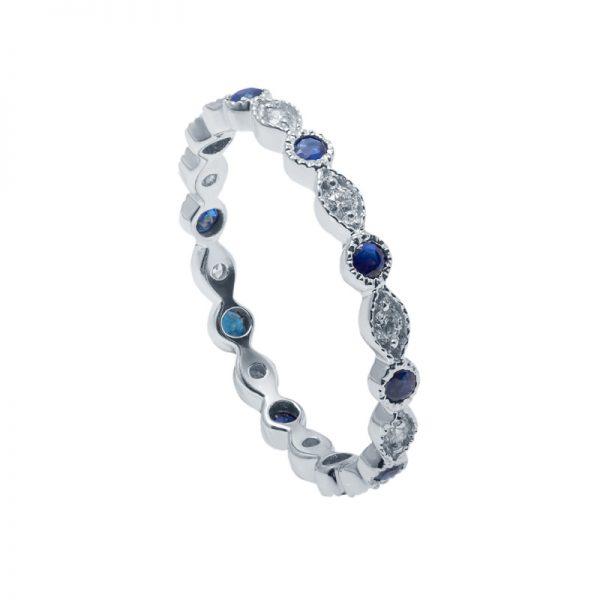 Balto aukso žiedas su safyrais ir deimantais