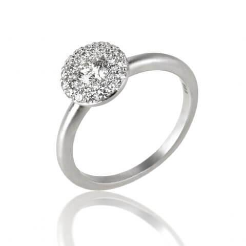 Balto, matinio aukso žiedas su deimantais