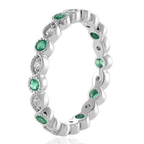 Balto aukso žiedas su deimantais ir smaragdais