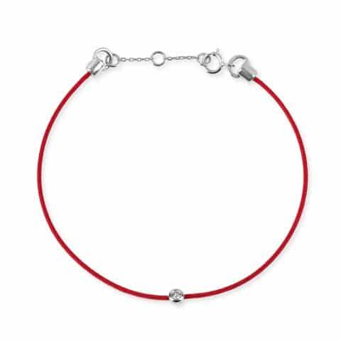 Raudona juostelė-apyrankė su 0,045 ct deimantu ir balto aukso užsegimu