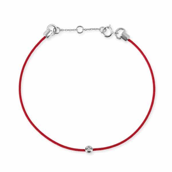 Raudona juostelė-apyrankė su deimantu ir balto aukso užsegimu