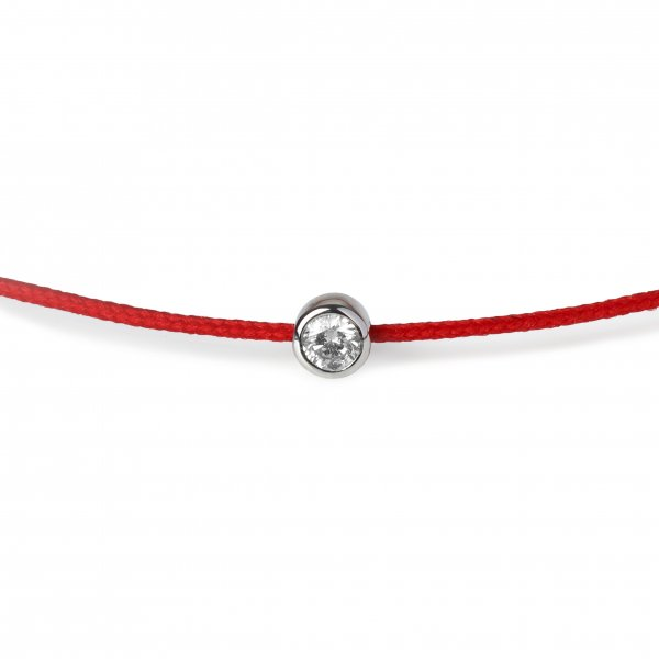 Raudona juostelė-apyrankė su deimantu ir aukso užsegimu