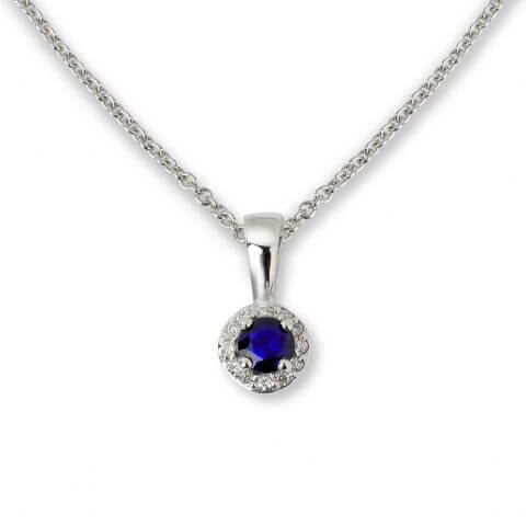 White gold sapphire and diamond pendant