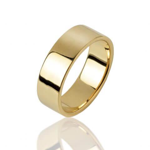 Geltono aukso žiedas (7.5 mm pločio)
