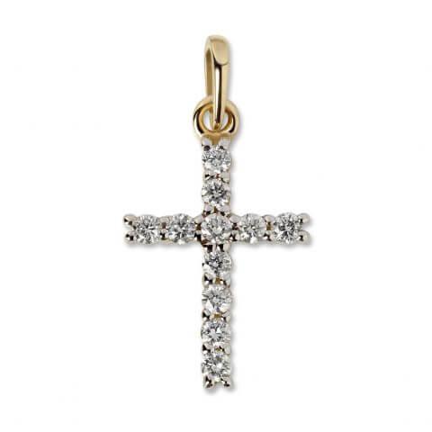 Geltono aukso pakabukas Kryžiukas su deimantais (be grandinėlės)