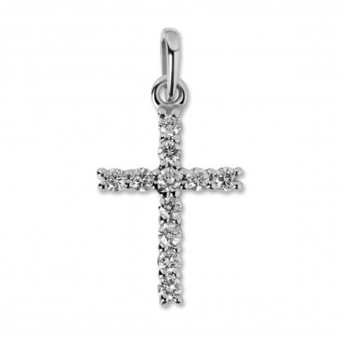 Balto aukso pakabukas Kryžiukas su deimantais