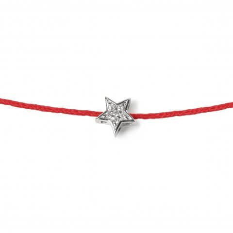 Raudona juostelė-apyrankė Žvaigždutė su deimantais (baltas auksas)