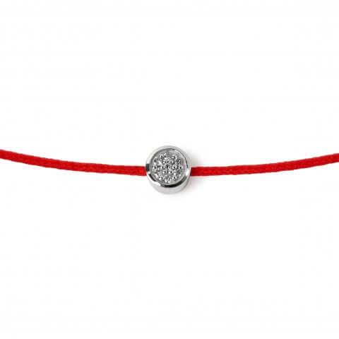 Raudona apyrankė-juostelė su deimantais (baltas auksas)