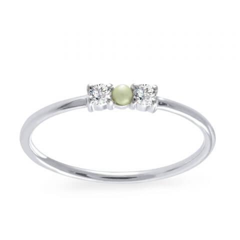 Balto aukso žiedas su deimantais ir perlu