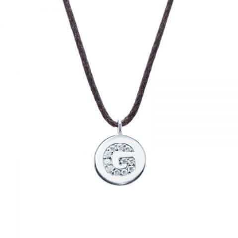 """White gold diamond pendant """"Letter G"""""""