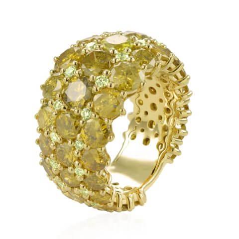 Geltono aukso žiedas su geltonais deimantais ir deimantais