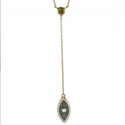 Rožinio aukso pakabukas su deimantais ir geltonu safyru