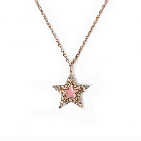 """Rožinio aukso pakabukas su deimantais """"Žvaigždutė"""""""
