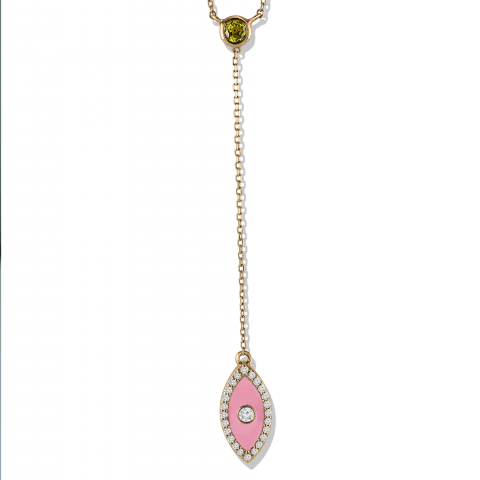 Rose gold yellow sapphire and diamond necklace