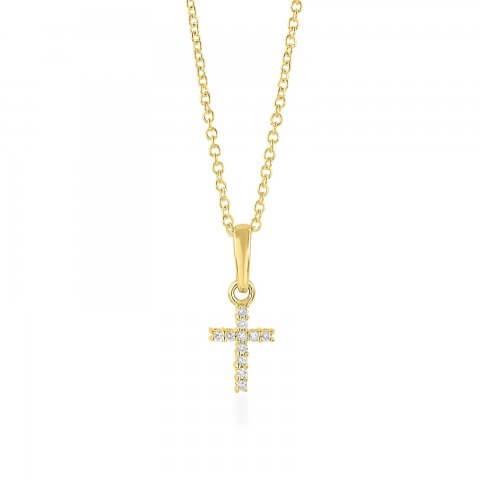 Geltono aukso pakabukas Kryžiukas su deimantais