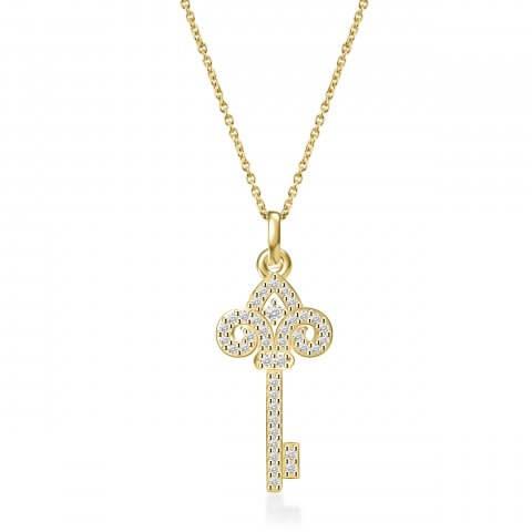 Geltono aukso pakabukas Raktelis su deimantais