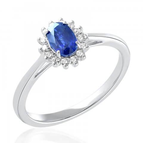 Balto aukso žiedas su safyru ir deimantais