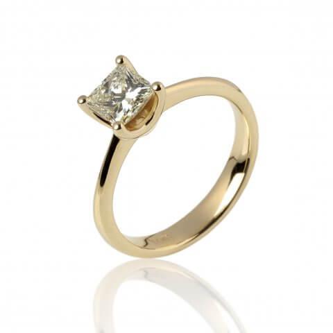 Geltono aukso žiedas su geltonu deimantu