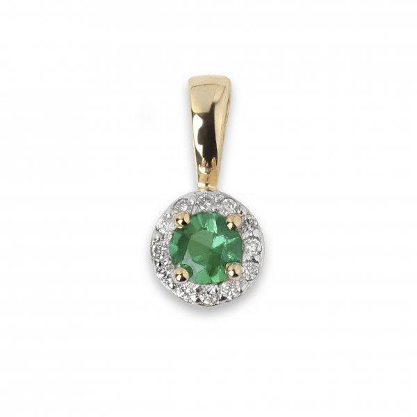 Geltono aukso pakabukas su smaragdu ir deimantais