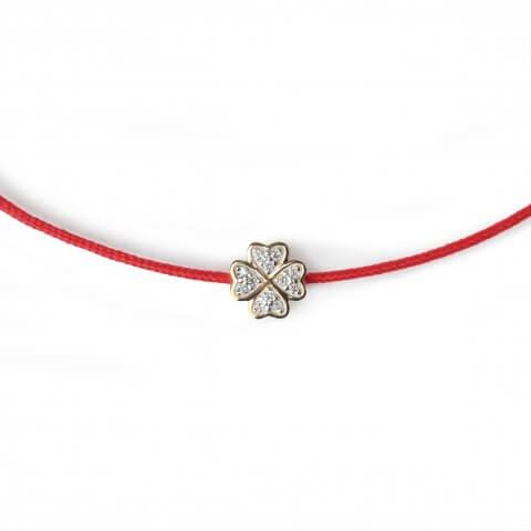 """Raudona juostelė-apyrankė su deimantu """"Dobilas"""" (geltonas auksas)"""