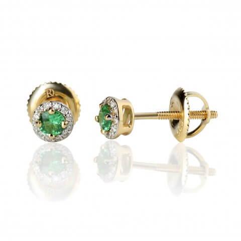 Geltono aukso auskarai su smaragdais ir deimantais
